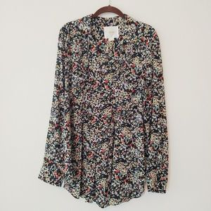 Anthropology Maeve floral LS blouse. Size XL